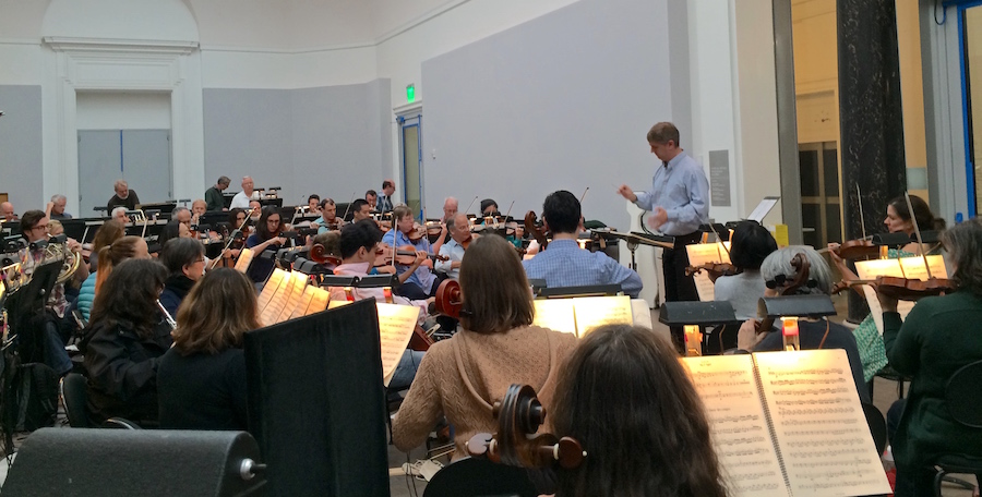 SF Ballet Orchestra in rehearsal hall at Herbst Theatre