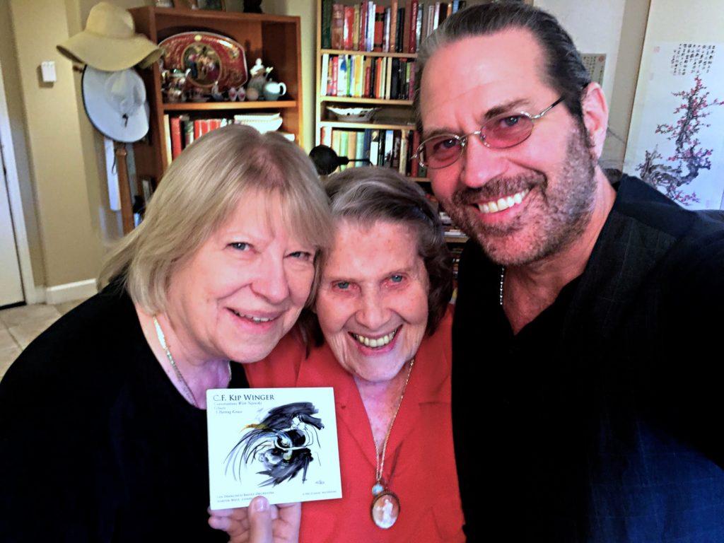 Kip Winger with Tamara Nijinsky (the daughter of Vaslav Nijinsky) and grand-daughter Kinga Gaspers. (Photo courtesy of Kip Winger)