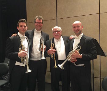 L to R: Conrad Jones, John Pearson, Glenn Fischthal, and Adam Luftman (San Francisco Ballet Orchestra, photo courtesy of Conrad Jones.)